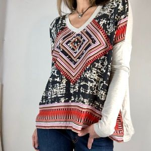 Cabi flowy silk tunic top boho chic Sz S